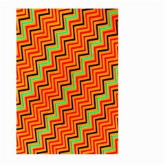 Orange Turquoise Red Zig Zag Background Large Garden Flag (two Sides) by BangZart