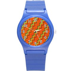 Orange Turquoise Red Zig Zag Background Round Plastic Sport Watch (s) by BangZart