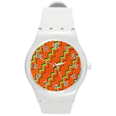 Orange Turquoise Red Zig Zag Background Round Plastic Sport Watch (m) by BangZart