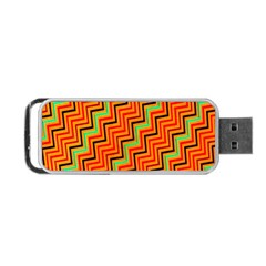 Orange Turquoise Red Zig Zag Background Portable Usb Flash (one Side) by BangZart