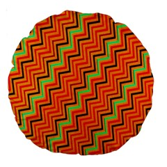 Orange Turquoise Red Zig Zag Background Large 18  Premium Round Cushions by BangZart