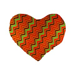 Orange Turquoise Red Zig Zag Background Standard 16  Premium Heart Shape Cushions by BangZart