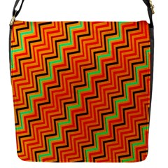 Orange Turquoise Red Zig Zag Background Flap Messenger Bag (s)