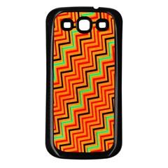 Orange Turquoise Red Zig Zag Background Samsung Galaxy S3 Back Case (black) by BangZart
