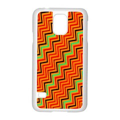 Orange Turquoise Red Zig Zag Background Samsung Galaxy S5 Case (white)