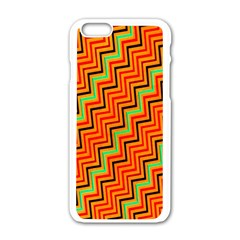 Orange Turquoise Red Zig Zag Background Apple Iphone 6/6s White Enamel Case by BangZart