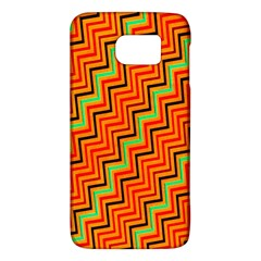 Orange Turquoise Red Zig Zag Background Galaxy S6 by BangZart