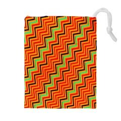 Orange Turquoise Red Zig Zag Background Drawstring Pouches (extra Large) by BangZart