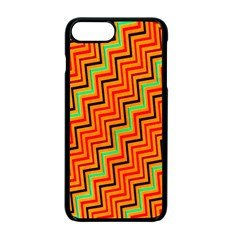 Orange Turquoise Red Zig Zag Background Apple Iphone 7 Plus Seamless Case (black)