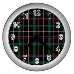 Tartan Plaid Pattern Wall Clocks (silver)  by BangZart