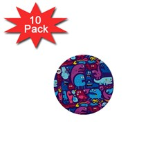 Hipster Pattern Animals And Tokyo 1  Mini Buttons (10 Pack)