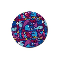 Hipster Pattern Animals And Tokyo Rubber Coaster (round)  by BangZart