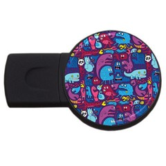 Hipster Pattern Animals And Tokyo Usb Flash Drive Round (2 Gb)