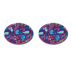 Hipster Pattern Animals And Tokyo Cufflinks (oval) by BangZart