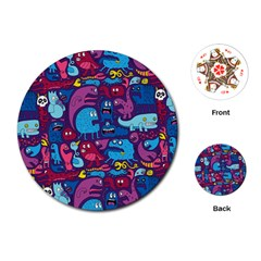 Hipster Pattern Animals And Tokyo Playing Cards (round)  by BangZart