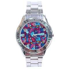 Hipster Pattern Animals And Tokyo Stainless Steel Analogue Watch by BangZart