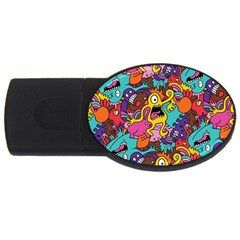 Monster Patterns Usb Flash Drive Oval (4 Gb) by BangZart