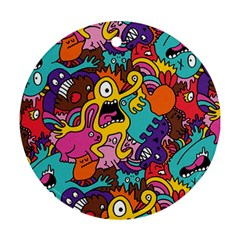 Monster Patterns Round Ornament (two Sides) by BangZart