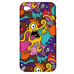 Monster Patterns Apple Iphone 4/4s Hardshell Case (pc+silicone)