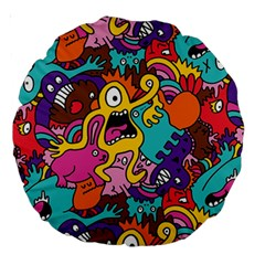 Monster Patterns Large 18  Premium Round Cushions by BangZart