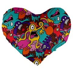 Monster Patterns Large 19  Premium Heart Shape Cushions by BangZart