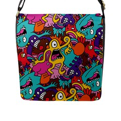 Monster Patterns Flap Messenger Bag (l)  by BangZart