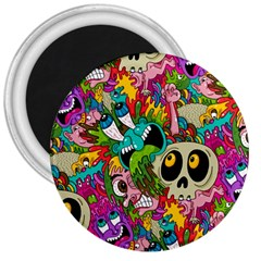 Crazy Illustrations & Funky Monster Pattern 3  Magnets by BangZart