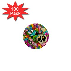 Crazy Illustrations & Funky Monster Pattern 1  Mini Magnets (100 Pack)  by BangZart