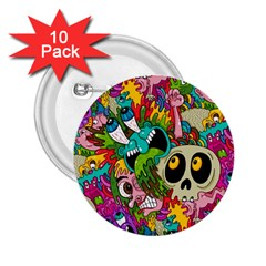 Crazy Illustrations & Funky Monster Pattern 2 25  Buttons (10 Pack)