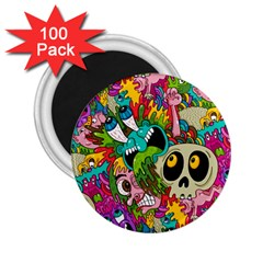 Crazy Illustrations & Funky Monster Pattern 2 25  Magnets (100 Pack)
