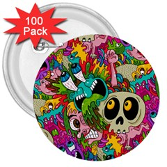 Crazy Illustrations & Funky Monster Pattern 3  Buttons (100 Pack)