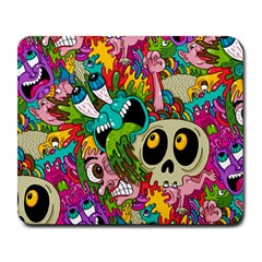 Crazy Illustrations & Funky Monster Pattern Large Mousepads by BangZart