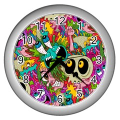 Crazy Illustrations & Funky Monster Pattern Wall Clocks (silver)  by BangZart