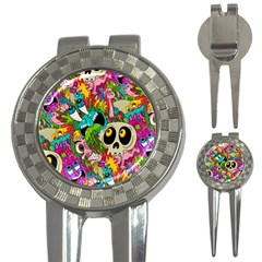 Crazy Illustrations & Funky Monster Pattern 3 In 1 Golf Divots