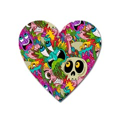 Crazy Illustrations & Funky Monster Pattern Heart Magnet