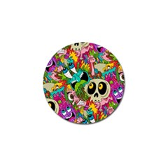 Crazy Illustrations & Funky Monster Pattern Golf Ball Marker by BangZart