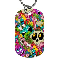 Crazy Illustrations & Funky Monster Pattern Dog Tag (two Sides) by BangZart