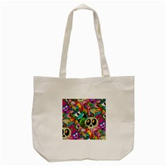 Crazy Illustrations & Funky Monster Pattern Tote Bag (cream) by BangZart