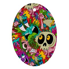 Crazy Illustrations & Funky Monster Pattern Oval Ornament (two Sides) by BangZart