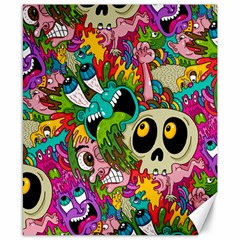 Crazy Illustrations & Funky Monster Pattern Canvas 8  X 10