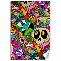 Crazy Illustrations & Funky Monster Pattern Canvas 20  X 30   by BangZart