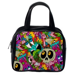 Crazy Illustrations & Funky Monster Pattern Classic Handbags (one Side)