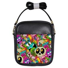Crazy Illustrations & Funky Monster Pattern Girls Sling Bags by BangZart