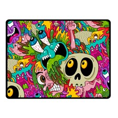 Crazy Illustrations & Funky Monster Pattern Fleece Blanket (small)