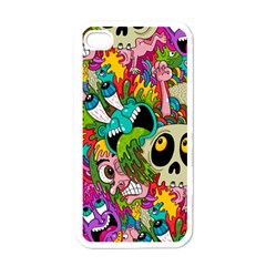 Crazy Illustrations & Funky Monster Pattern Apple Iphone 4 Case (white) by BangZart
