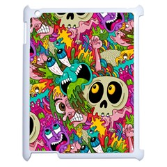 Crazy Illustrations & Funky Monster Pattern Apple Ipad 2 Case (white) by BangZart