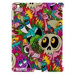 Crazy Illustrations & Funky Monster Pattern Apple Ipad 3/4 Hardshell Case (compatible With Smart Cover)
