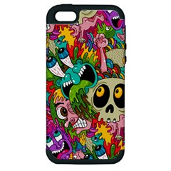 Crazy Illustrations & Funky Monster Pattern Apple Iphone 5 Hardshell Case (pc+silicone) by BangZart