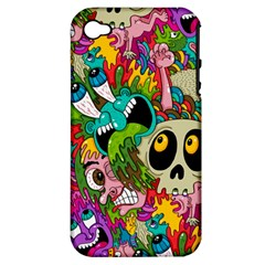 Crazy Illustrations & Funky Monster Pattern Apple Iphone 4/4s Hardshell Case (pc+silicone) by BangZart