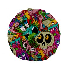Crazy Illustrations & Funky Monster Pattern Standard 15  Premium Round Cushions by BangZart
